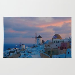 Santorini, Oia Greece, Windmill Sunrise Rug