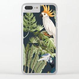 Exotic Bird & Leaf Pattern Clear iPhone Case