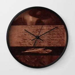 Fragments of Creations: statue, poem, feather, flowers. Collage Art Wall Clock