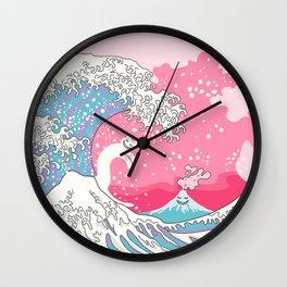 Psychodelic Bubblegum Kunagawa Surfer Cat Wall Clock