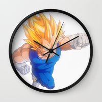 vegeta Wall Clocks featuring Ascended Super Saiyan Vegeta by bmeow