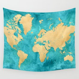 """Teal watercolor and gold world map with countries and states """"Lexy"""" Wall Tapestry"""