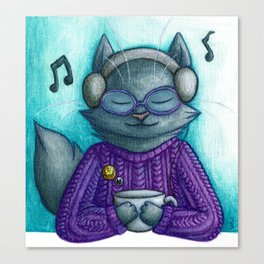Hot drinks and cool tunes Canvas Print