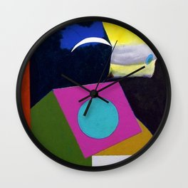 African American Masterpiece 'Joyful Abstraction' abstract landscape painting by E.J. Martin Wall Clock