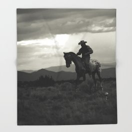 Santa Fe Cowboy on Horse Throw Blanket