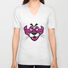 mean pink panther Unisex V-Neck