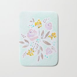 Mint and lavender watercolor floral Bath Mat