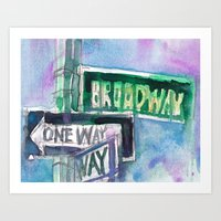 broadway Art Prints featuring Broadway Sign by Dorrie Rifkin Watercolors