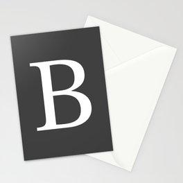 Very Dark Gray Basic Monogram B Stationery Cards