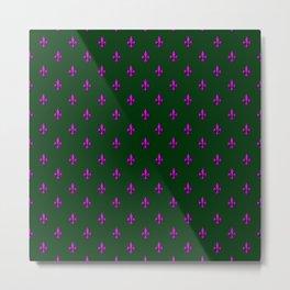 Pink & Green Fleur-de-Lis Pattern Metal Print