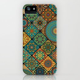 Vintage patchwork with floral mandala elements iPhone Case