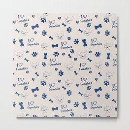 Cute ivory navy blue love Frenchie bulldog typography Metal Print