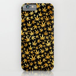 Black Gold Weed Pattern iPhone Case