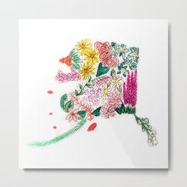 Hand Painted Alaska State Map Metal Print