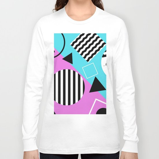 Stripes And Splats 1 - Wacky, Random, Abstract, Black And White Stripes, Blue and pink Artwork Long Sleeve T-shirt