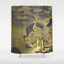 Golden Birds Shower Curtain