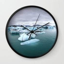 Colorful Glacier Lagoon in Iceland Wall Clock