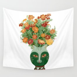 Marigolds in cat face vase  Wall Tapestry