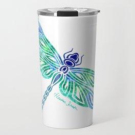 Tribal Dragonfly Blues and Greens Travel Mug