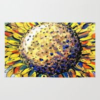 sunflower Area & Throw Rugs featuring Sunflower by Claudia McBain