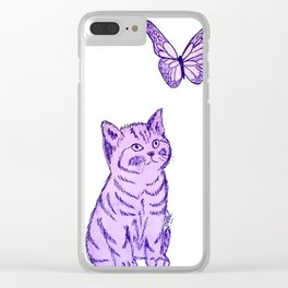 Purple cat & butterfly Clear iPhone Case