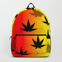 Pattern with cannabis leaf shapes on a yellow and red green background. Leaf of a marijuana plant. Backpack