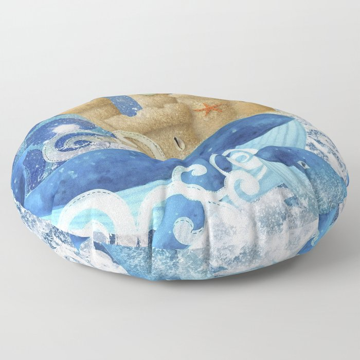 Sandcastle Waves Whales Floor Pillow