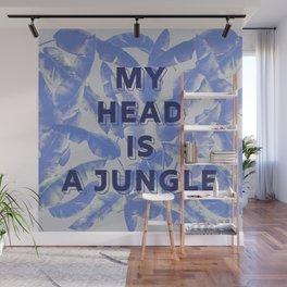 My head is a jungle - blue banana leaves Wall Mural