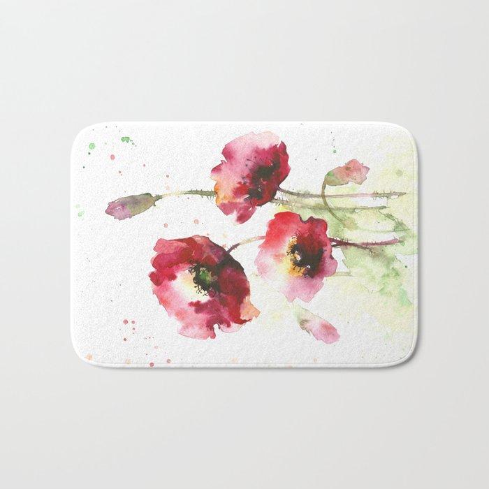 Watercolor flowers of poppy Bath Mat