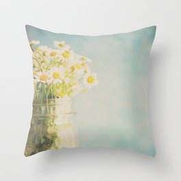 A mason jar full of pretty flowers. Throw Pillow