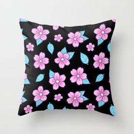 Sakura // Black Throw Pillow