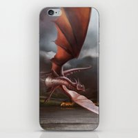 smaug iPhone & iPod Skins featuring Smaug Burns Lake-Town by Andy Fairhurst Art