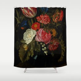 """Maria van Oosterwijck """"Flowers in a vase on a marble ledge"""" Shower Curtain"""