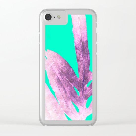 Lavender Fern on Mint Green Winter Wonderland Clear iPhone Case