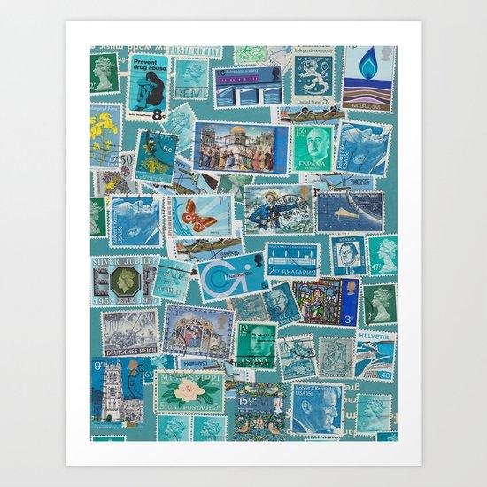 Postage Bleu Art Print