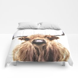 Highland Cow Portrait Comforters