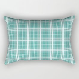 Color of The Day Lagoon Green Tartan Plaid Check Rectangular Pillow