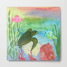 Sea Turtle Shores Metal Print