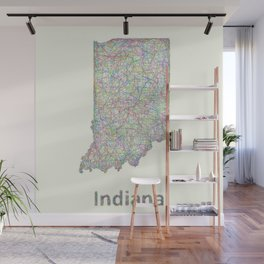 Indiana map Wall Mural