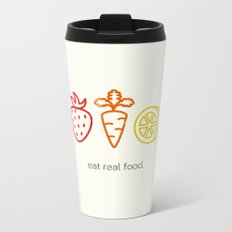Eat Real Food. (light) Metal Travel Mug