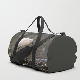 white heron bird by the river Duffle Bag
