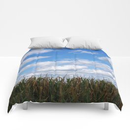 """Corn field in autumn with """"popcorn"""" clouds Comforters"""