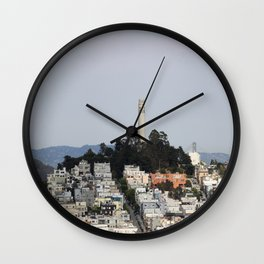 Streets Of San Francisco With Coit Tower Wall Clock