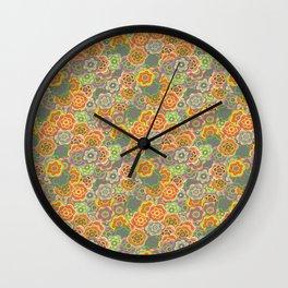 Floral Riot - Orange Wall Clock