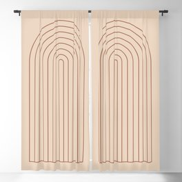 Geometric Lines in Beige and Terracotta 4 (Window Frame Abstract) Blackout Curtain