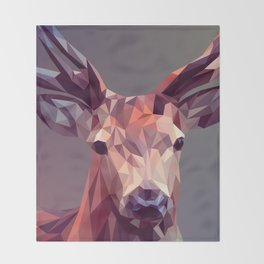 Colorful Polygons Abstract Deer Throw Blanket
