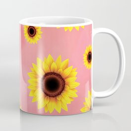 Sunflower Pattern on pink background Coffee Mug