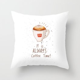 watercolor illy coffee Throw Pillow