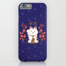 Maneki-neko cat with good luck kanji iPhone Case