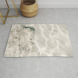 Clear water | beach fine art photography | sea wave and sand Rug